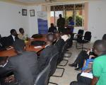 Dr. Nahamya Wilfred, Deputy Executive Secretary addressing student leaders from BTVET institutions at the Secretariat in April 2017