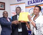 State Minister for primary education Rosemary Seninde, Board chairperson Prof Venansius Baryamureeba and UBTEB Executive Secretary Onesmus Oyesigye during the 1st phase of Nov/Dec 2017 UCPC examinations results release on 30th January 2018
